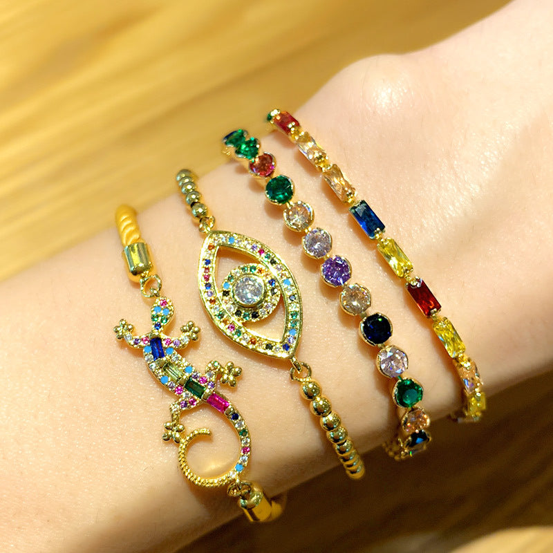 Custom Rainbow Eye Charm Bracelet Jewelry Micro Pave Zircon 18k Gold Bracelet for Women - CleoBLVD