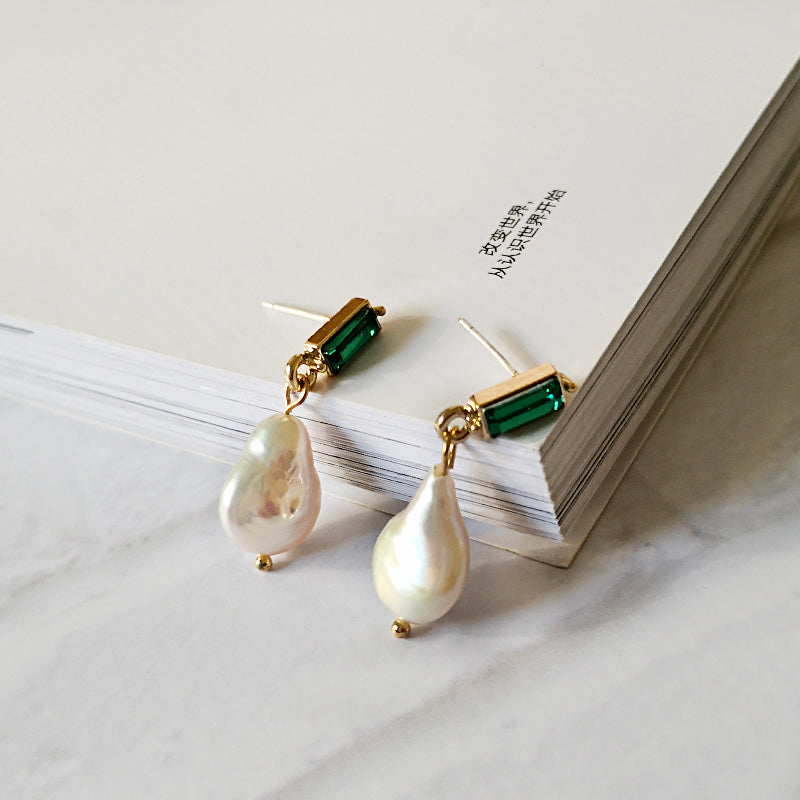 Green Crystal Pearl Drop Earrings - CleoBLVD