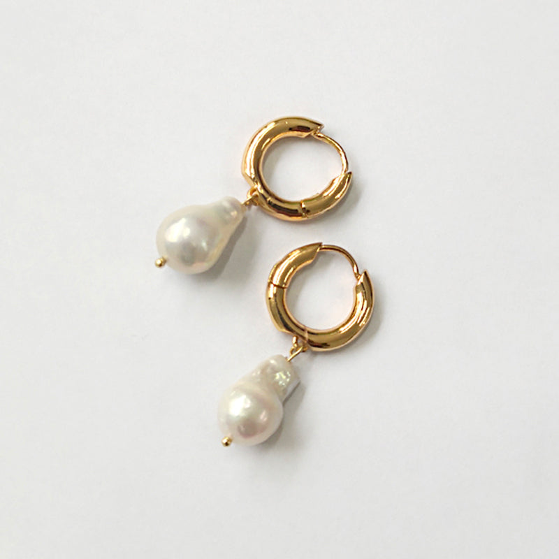 Gold Small Circle White Pearl Earrings - CleoBLVD