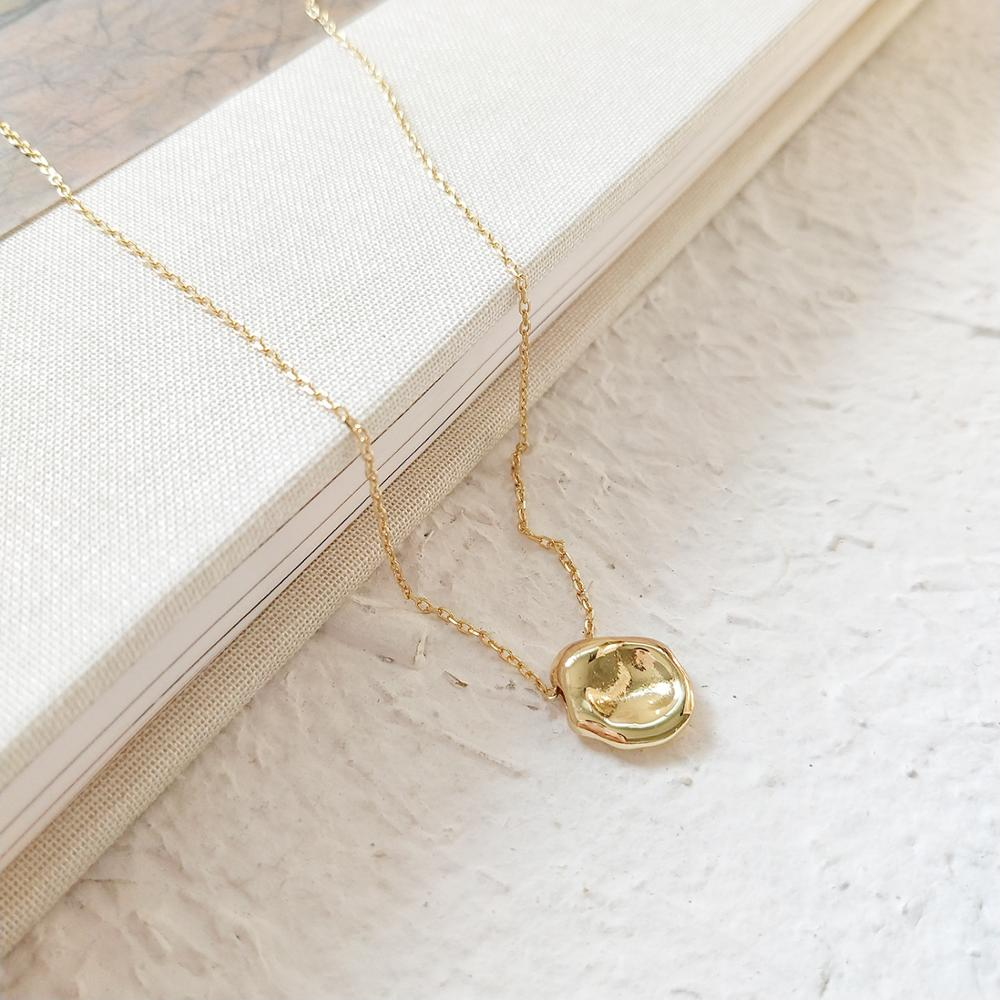 Sterling Gold Disc Pendant Necklace - CleoBLVD