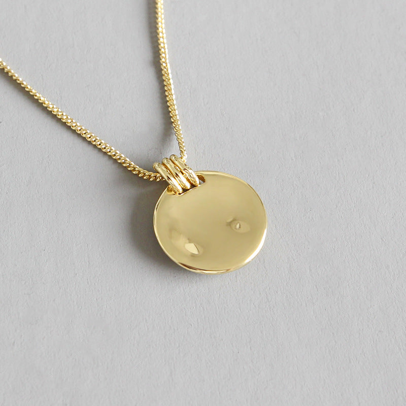 Round 18k Gold Surface Pendant Necklace - CleoBLVD