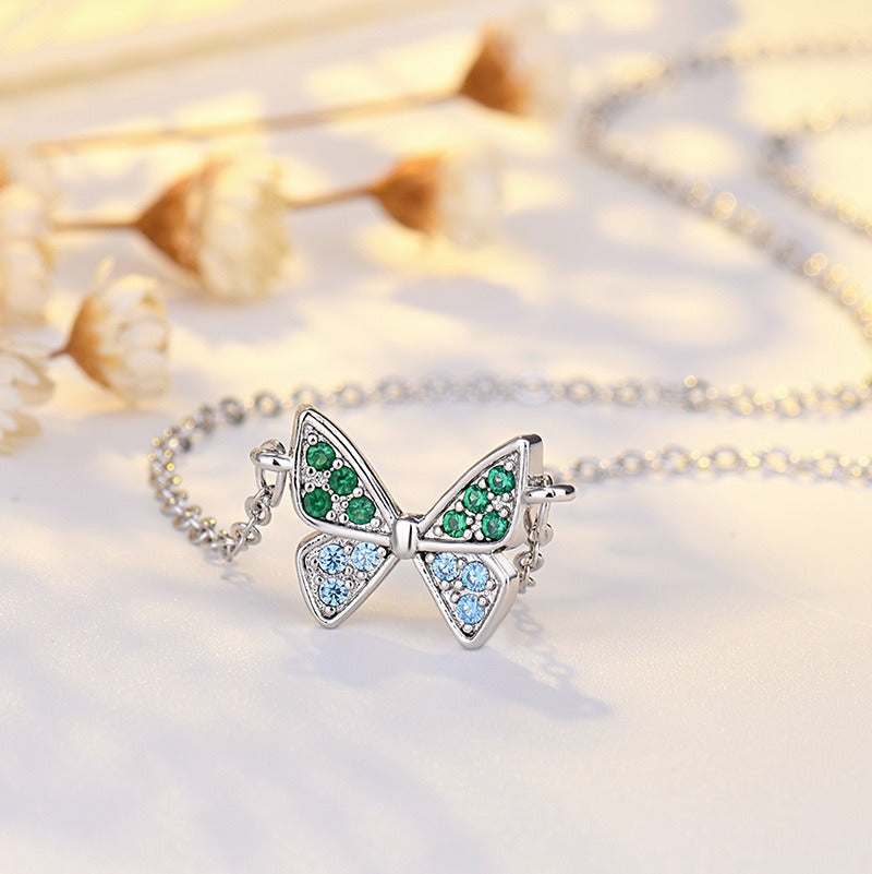 Crystal Butterfly long Necklace Pendant