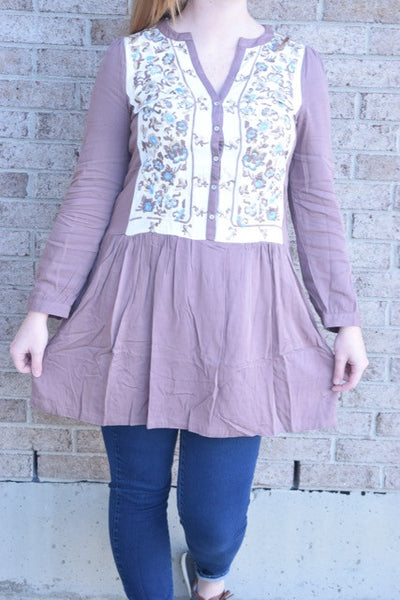 The Embroidery Tunic Dress in Mocha