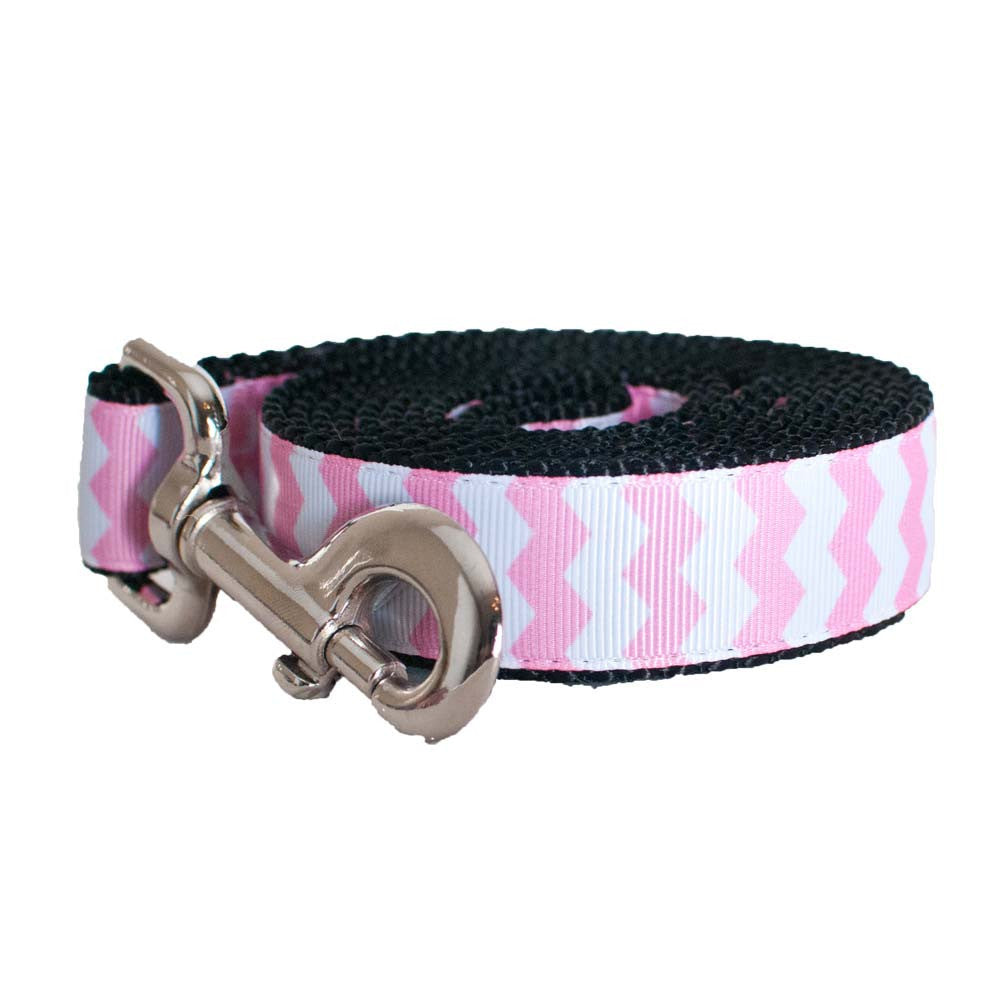 Paw Paws Dog Lead - Pink Chevron