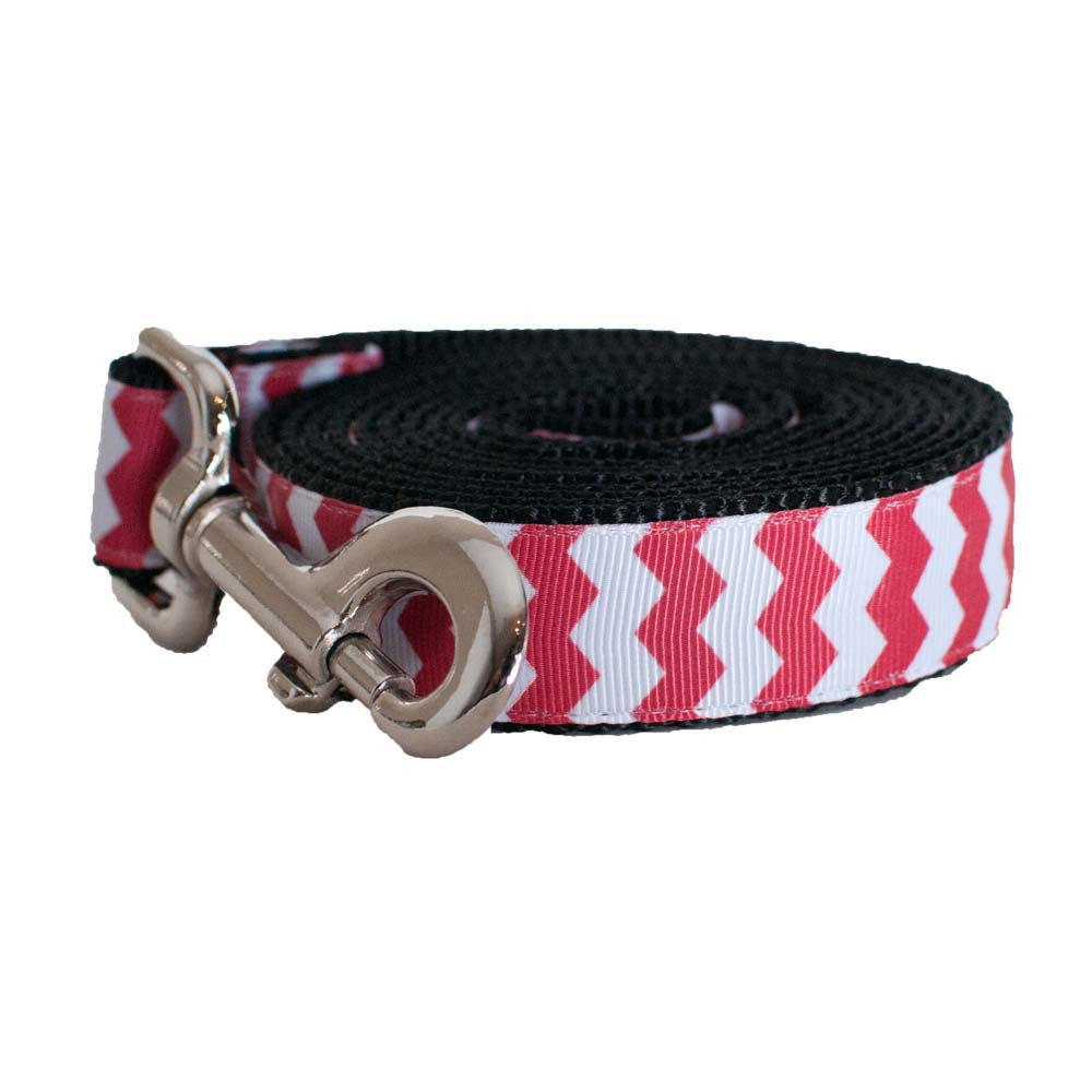 Paw Paws Dog Lead - Red Chevron