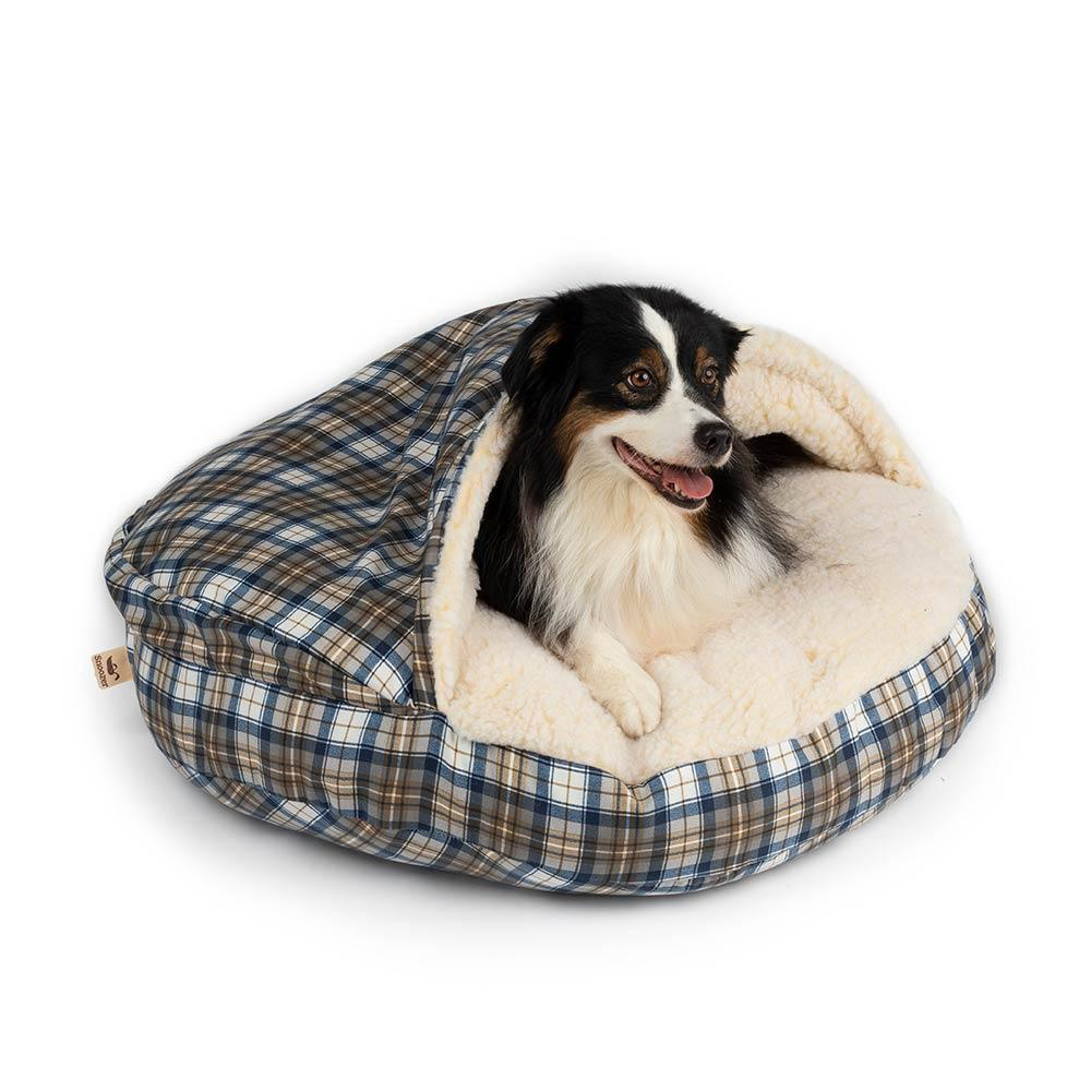 Snoozer Orthopaedic Cozy Cave Dog Bed - Blue Plaid