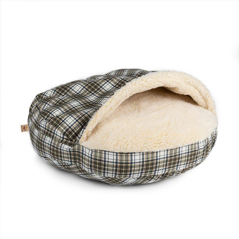 Snoozer Orthopaedic Cozy Cave Dog Bed - Green Plaid