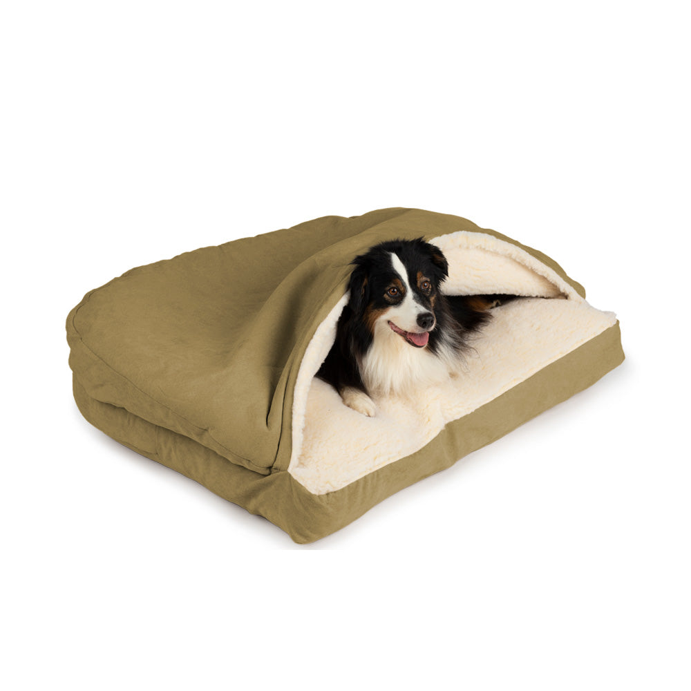 Snoozer Luxury Cozy Cave Rectangle Dog Bed - Camel