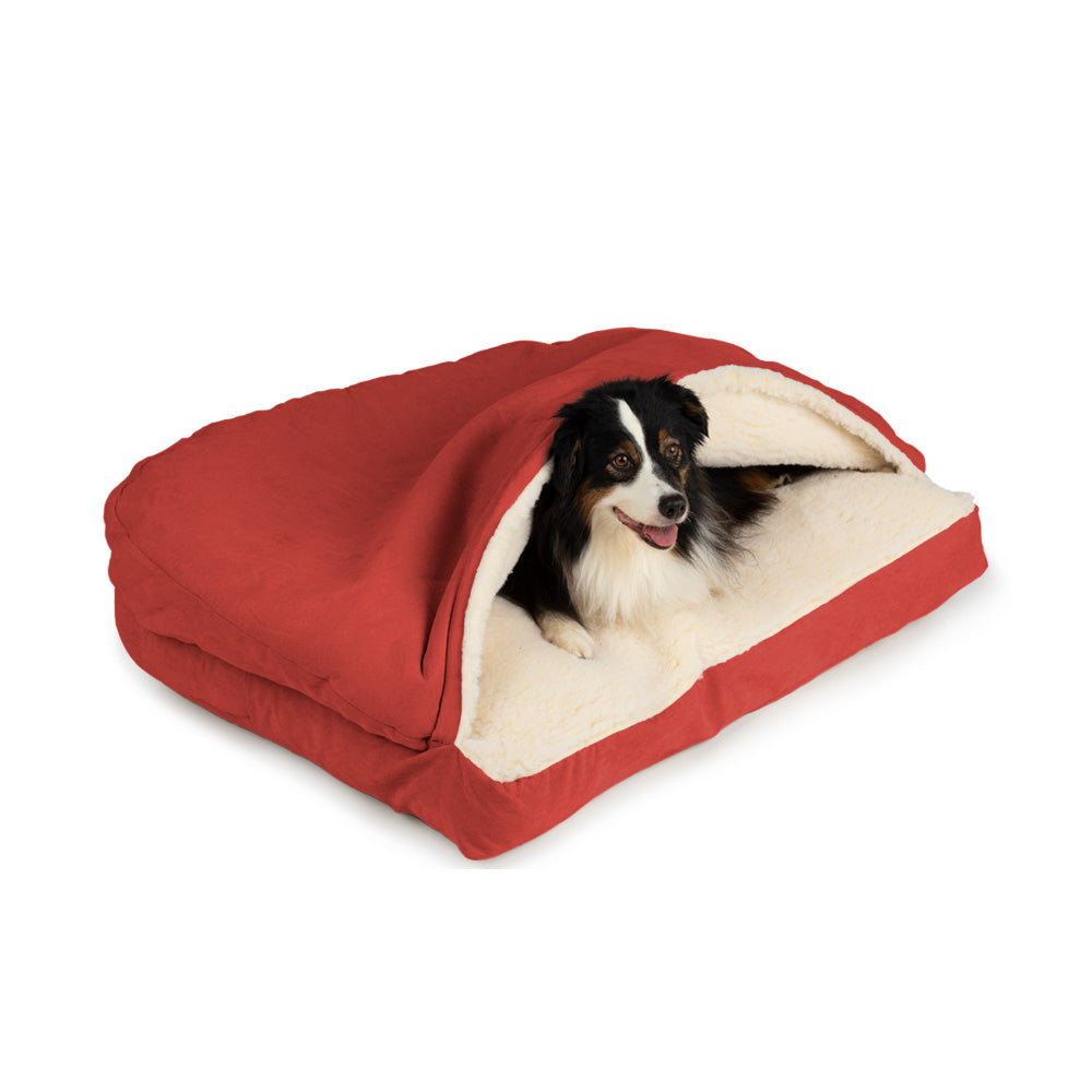 Snoozer Luxury Cozy Cave Rectangle Dog Bed - Red