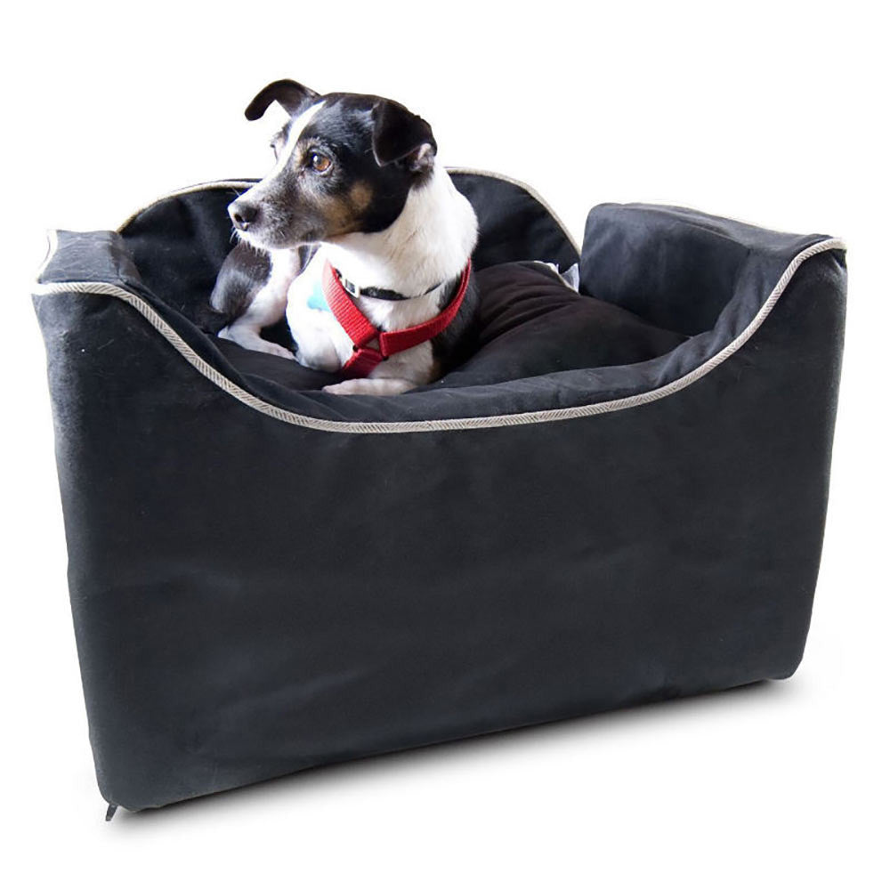 Snoozer Luxury Lookout I Dog Car Seat - Black with Herringbone