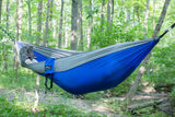 Single Camping Hammock Blue/Grey - Peak Camping Hammock
