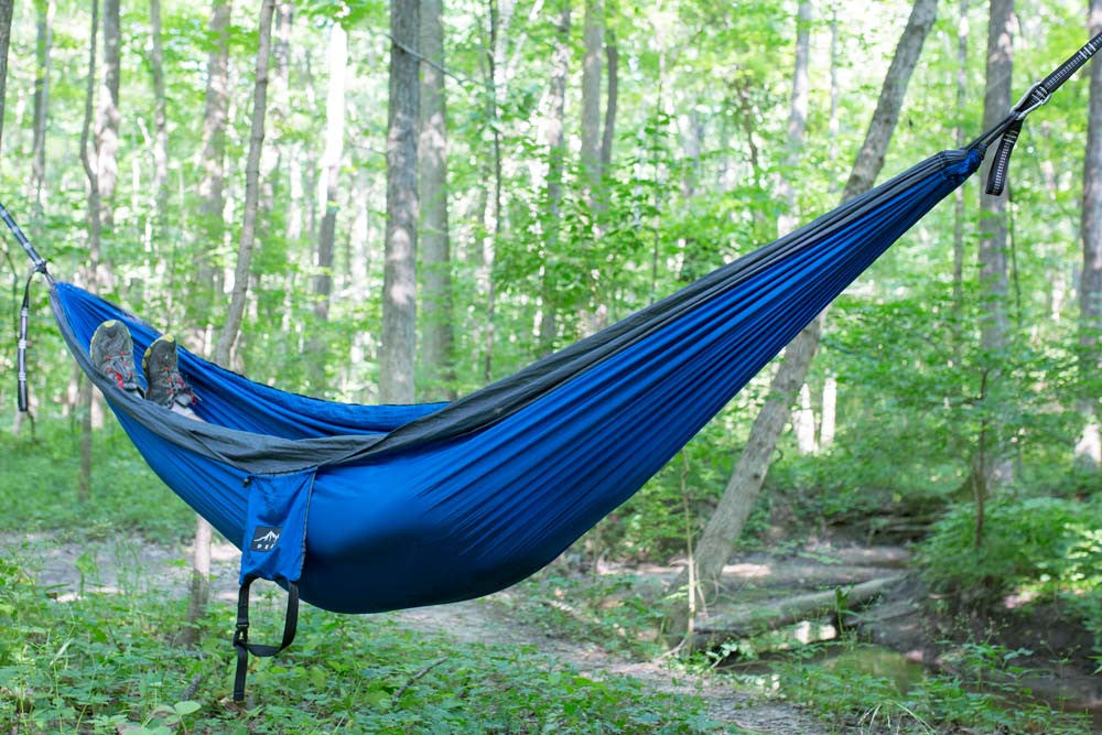 Medium image of 2 person camping hammock deep blue charcoal   peak camping hammock