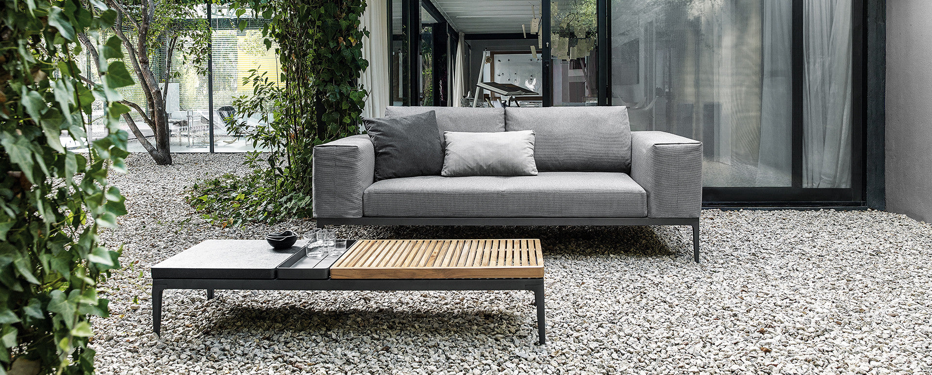 Gloster grid teak and stone coffee table
