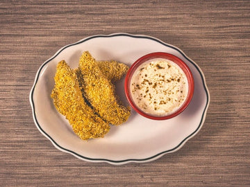 Air Fryer Curry Chicken Tenders w/ Cumin-Spiced Yogurt Dip