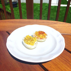 devilled eggs with paella spice blend