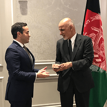 President Ghani thanks Rumi for their work with Afghan farmers and women