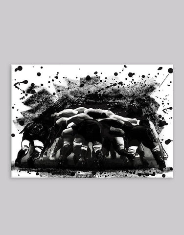Rugby Scrum Ink on Canvas