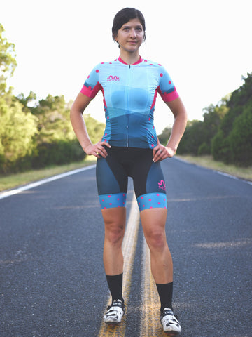 QOM Cycling Kit - Blue & Pink
