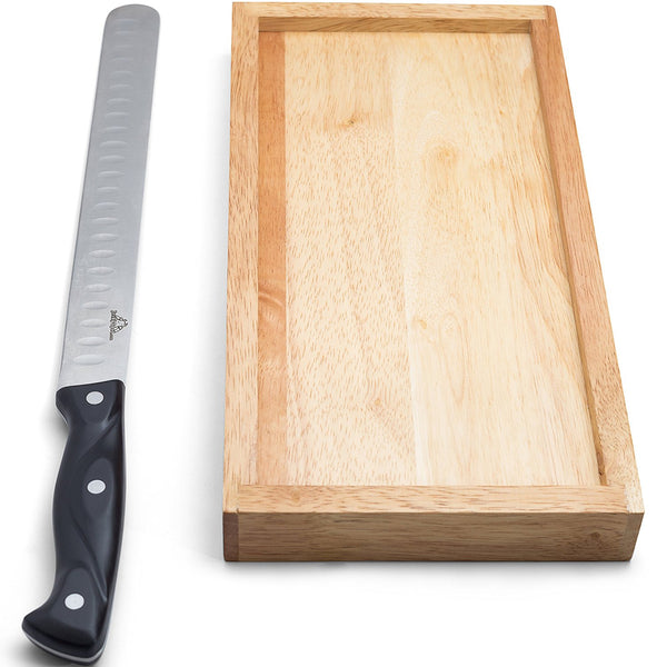 JerkySpot Jerky Cutting Board & 14inch Slicing Knife - Make Your Own Beef Jerky & Slice Meat Thin Easily