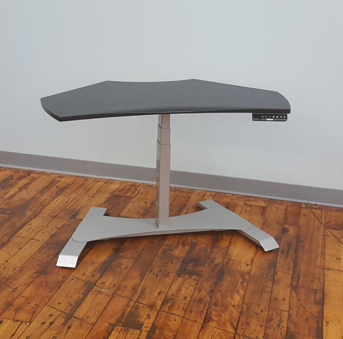 Small Footprint Sit-Stand Workstation - Silver