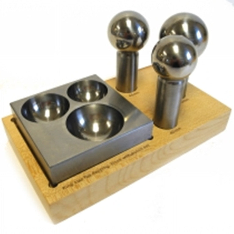 PARUU® King Size Doming Block 40mm 45mm 50mm Punch Set Made Of Steel Dapping Jewelers Tool st1006