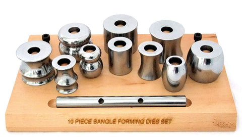 Paruu Bangle forming die set 10 pc on wood base st1025 - PARUU INC