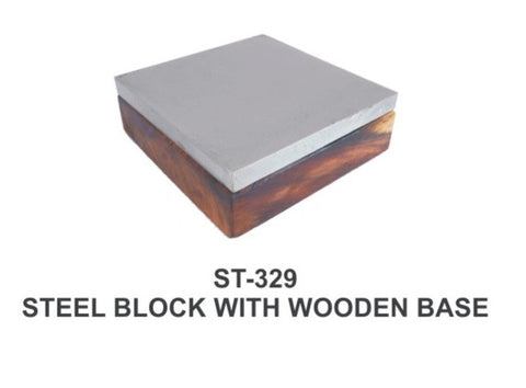 "PARUU® STEEL BLOCK 4"" ON WOODEN BASE ST329 - PARUU INC"