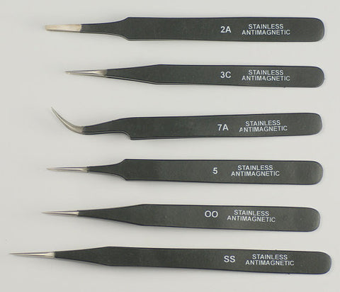 PARUU® EPOXY COATED TWEEZERS SET OF 6 PC ST36