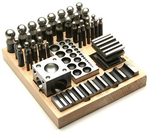 PARUU® 40 Pc Jumbo Doming Punch and Block Set wooden stand st421 - PARUU INC