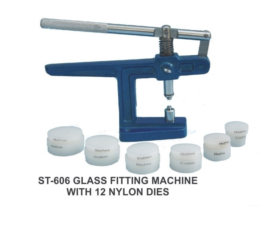 Watch Glass and Back Case Fitting Machine with 12 Nylon Dies ST606
