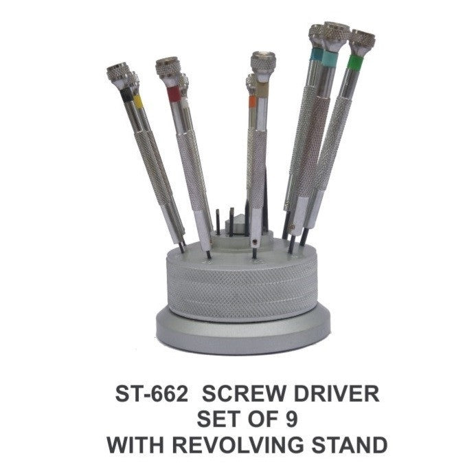 PARUU® 9 pc screw driver set with revolving stand watch repair st662
