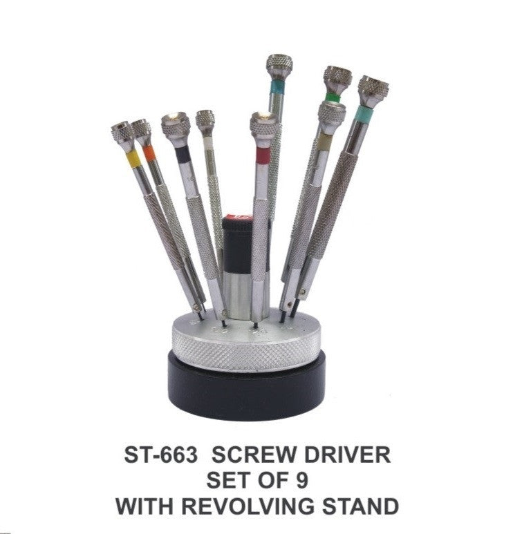 PARUU® 9 pc screw driver set with revolving stand light st663