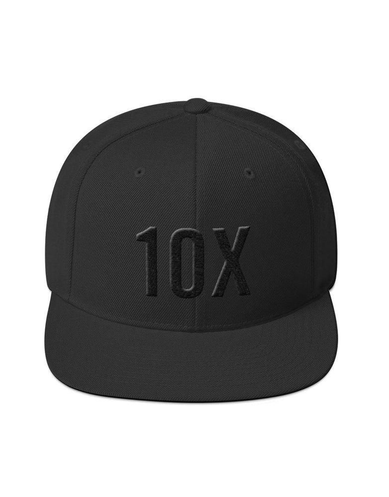 10X Black on Black Snapback Hat