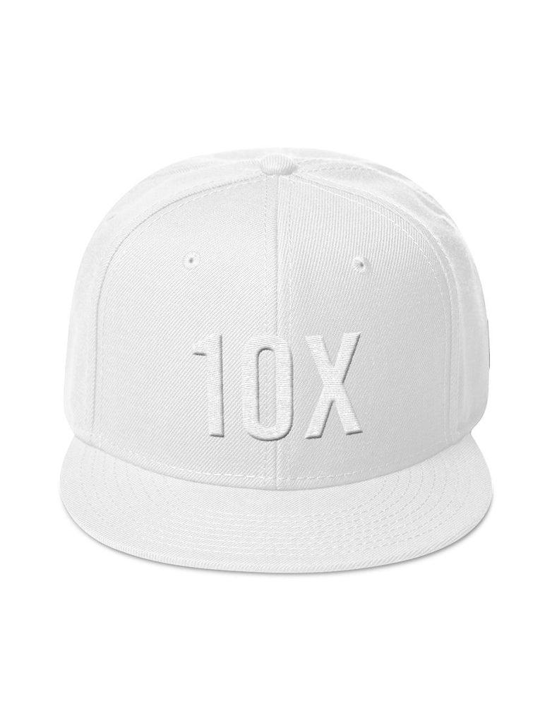 10X White on White Snapback Hat