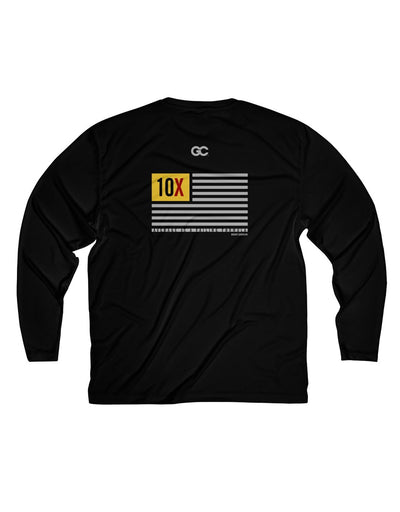 10X Flag - Men's Long Sleeve Moisture Absorbing Tee
