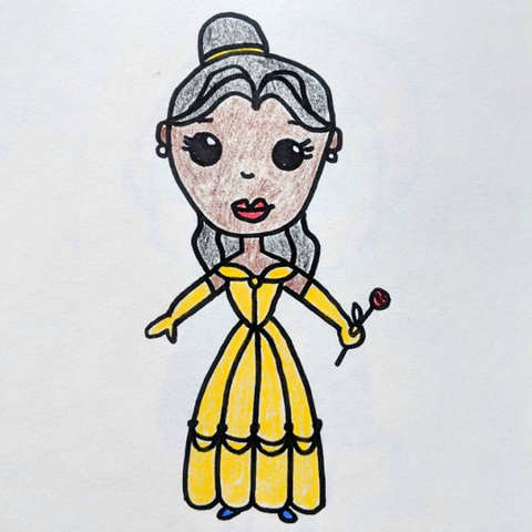 drawing of belle