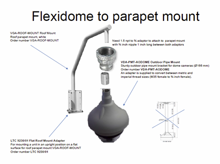 NPT-PMT-RF-AD Flexidome Pipe Mount to Roof/Parapet Mount Adapter