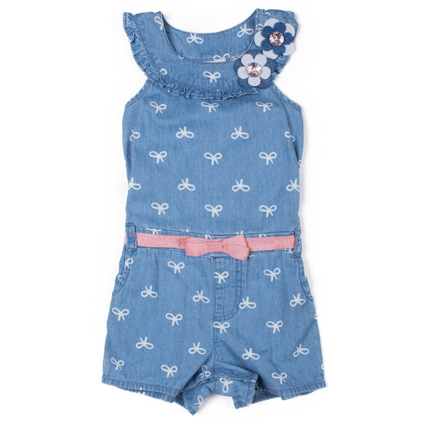 Girls Printed Chambray Romper