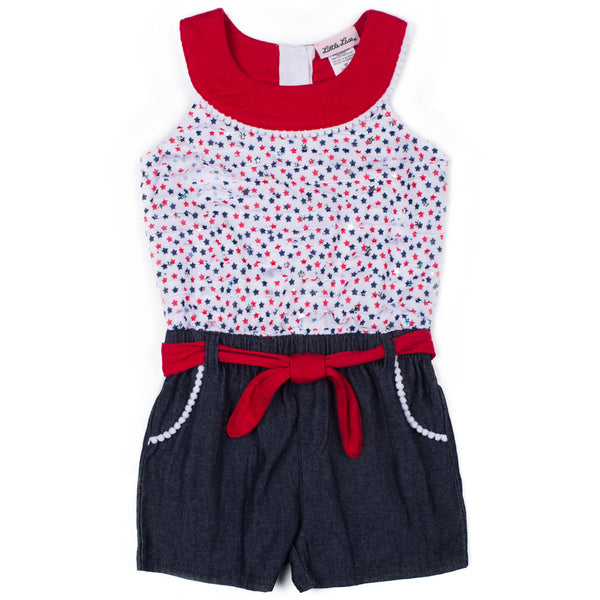 Girls Americana Eyelash Romper