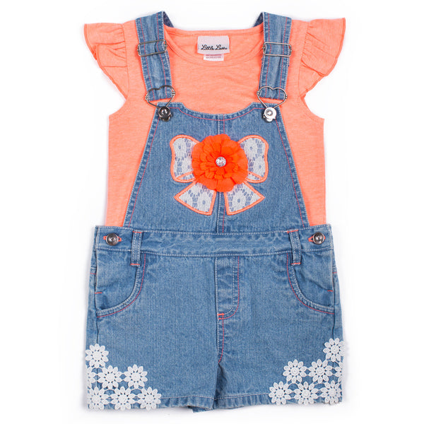 Girls Top and Crochet Lace-Bow Shortall-Set