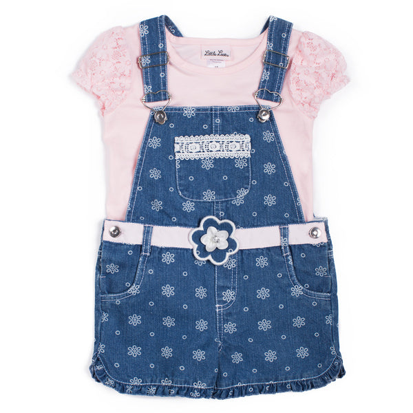 Girls Top and Printed Denim Shortall Set