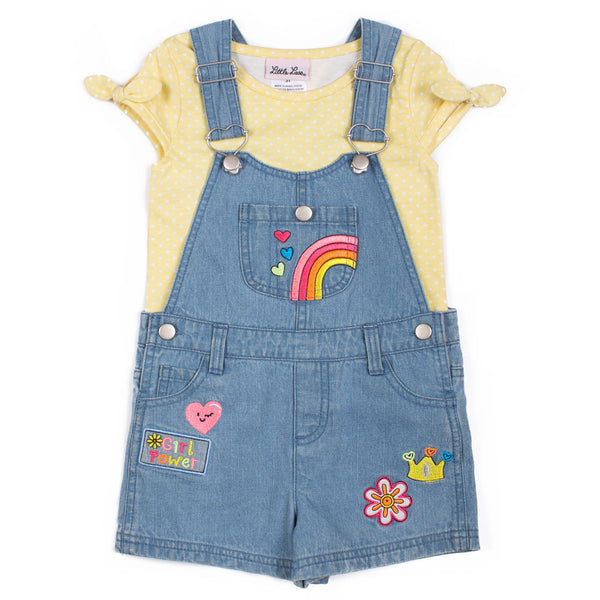 Girls Top and Printed Emoji Shortall Set