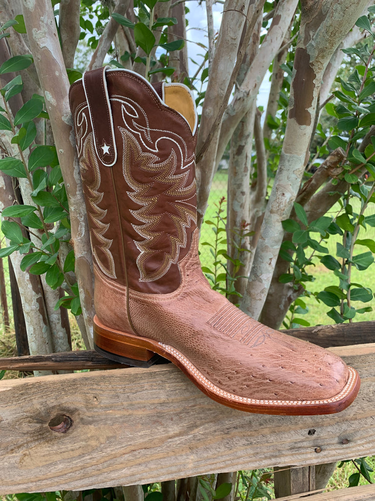 TONY LAMA MEN'S TRAVIS CHOCOLATE SMOOTH QUILL OSTRICH BOOT