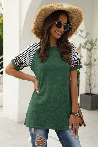 Green Leopard Striped Top