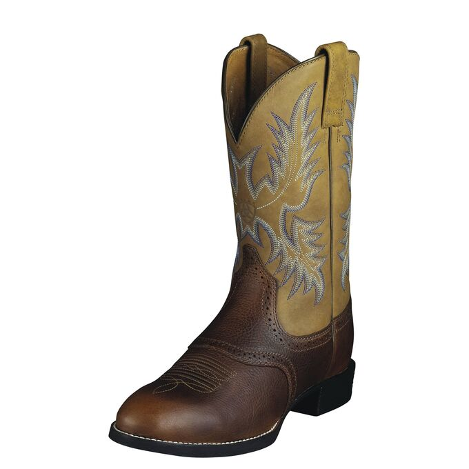 ARIAT MEN'S BARREL BROWN HERITAGE STOCKMAN WESTERN BOOT