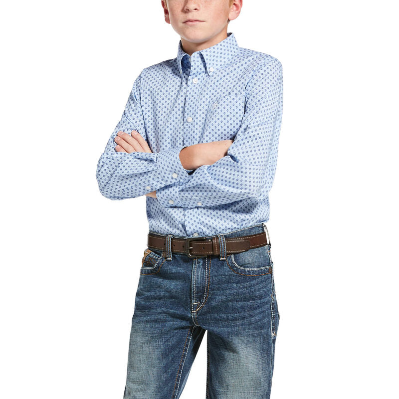 Ariat Boy's Jeanwood Oxford Blue Stretch Classic Fit Shirt