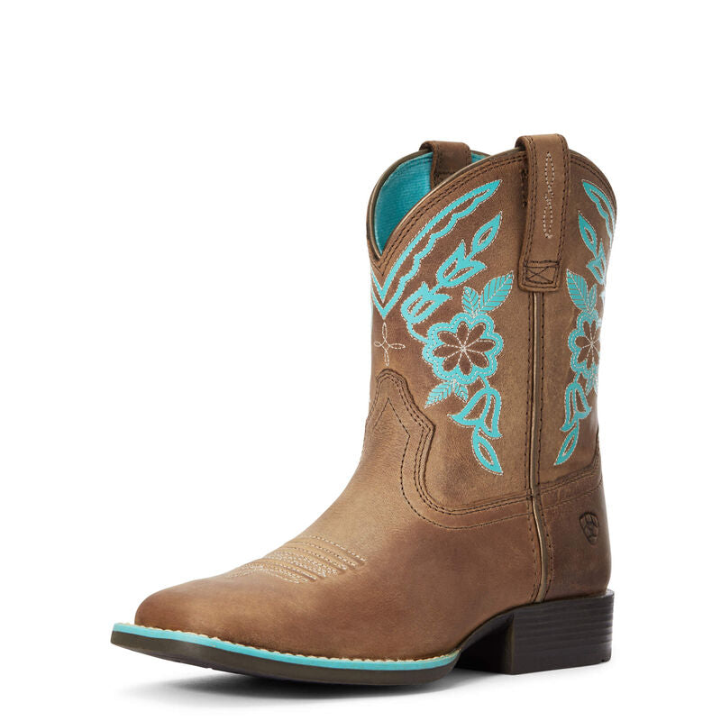 ARIAT GIRL'S CATTLE CATE DISTRESSED BROWN BOOT