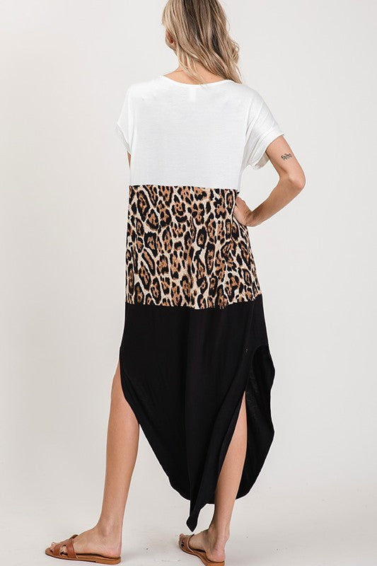 Leopard Color Block Maxi Dress