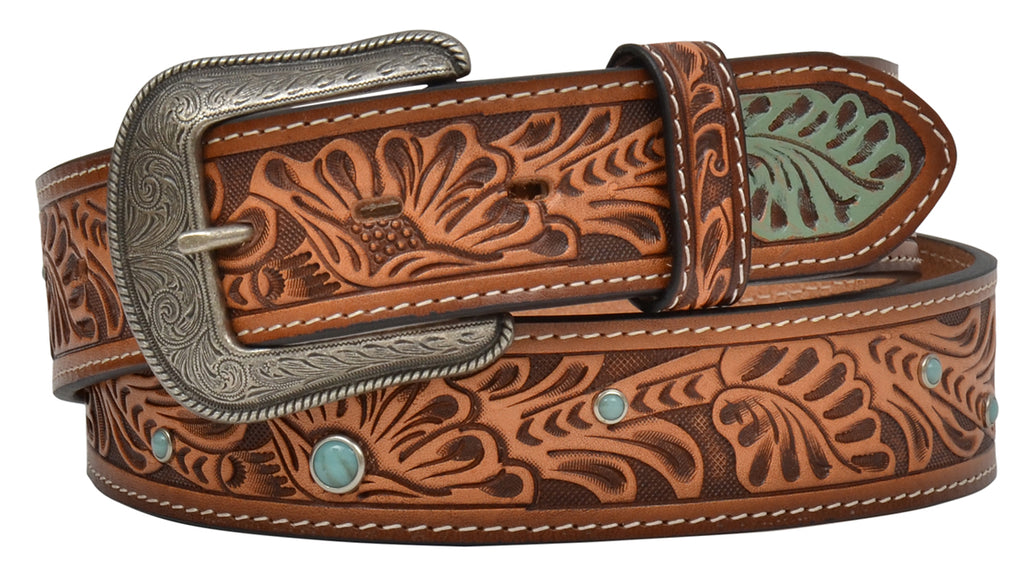 3D MEN'S FLORAL TOOLED TURQUOISE STUD BELT