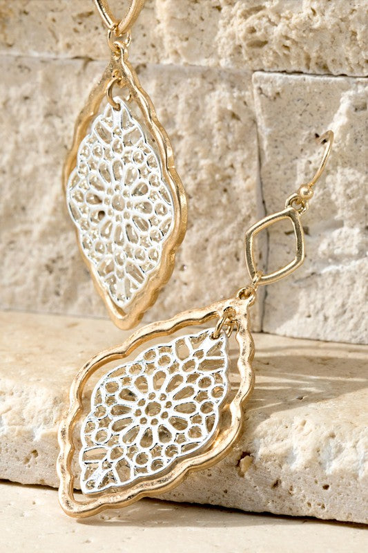 GOLD/SILVER CROCHET DANGLE EARRINGS